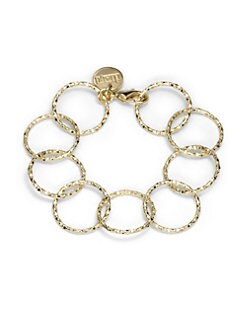 1AR by UNOAERRE - Textured Circle Link Bracelet/Yellow Goldplated