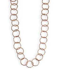 1AR by UNOAERRE - Textured Circle Link Necklace/Rose Goldplated