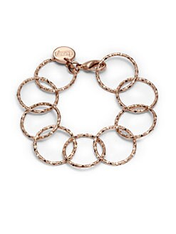 1AR by UNOAERRE - Textured Circle Link Bracelet/Rose Goldplated