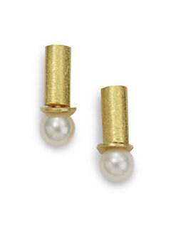 Rena Luxx - Pearl Post Earrings/Goldtone