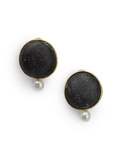 Rena Luxx - Pearl & Circle Stone Clip-On Earrings