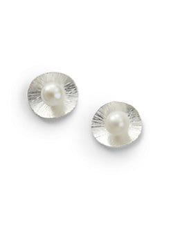 Rena Luxx - Pearl Disc Earrings