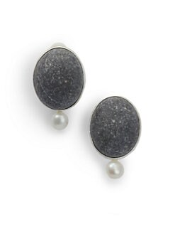Rena Luxx - Pearl & Oval Stone Clip-On Earrings