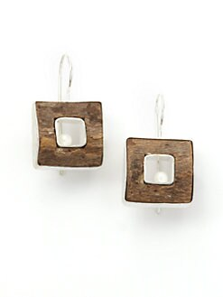 Rena Luxx - Hand-Carved Driftwood & Pearl Earrings