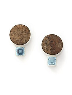 Rena Luxx - Hand-Carved Driftwood & Blue Topaz Earrings