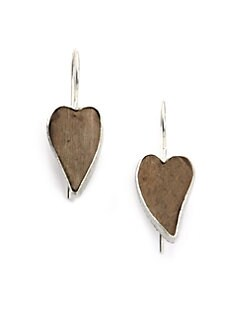 Rena Luxx - Hand-Carved Driftwood Heart Earrings