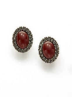 Ben Amun - Oval Clip-On Earrings/Red