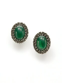 Ben Amun - Oval Clip-On Earrings/Green