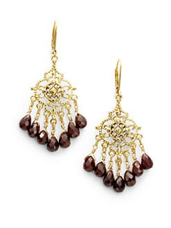 Rachel Reinhardt - Garnet Filigree Chandelier Earrings