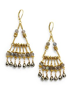 Rachel Reinhardt - Hematite & Pyrite Chandelier Fringe Earrings