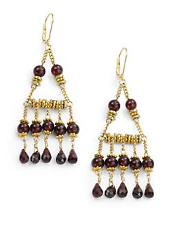 Rachel Reinhardt - Garnet Chandelier Fringe Earrings