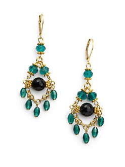 Rachel Reinhardt - Onyx & Crystal Mini Chandelier Earrings