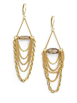 Rachel Reinhardt - Smoky Topaz Chain Drop Earrings