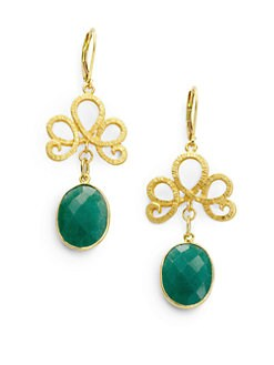 Rachel Reinhardt - Green Onyx Swirl Drop Earrings