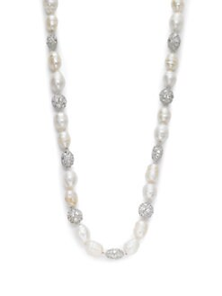 CZ by Kenneth Jay Lane - 9MM White Baroque Pearl & Pave Sphere Necklace