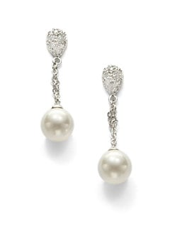 CZ by Kenneth Jay Lane - Mother of Pearl Chain Link Drop Earrings