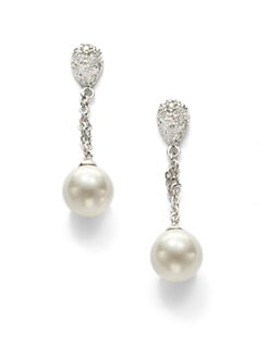 CZ by Kenneth Jay Lane - Crystal & Mother of Pearl Drop Earrings