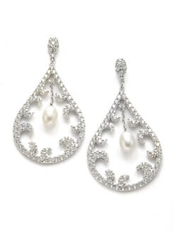 CZ by Kenneth Jay Lane - Freshwater Pearl & Crystal Teardrop Swirl Earrings