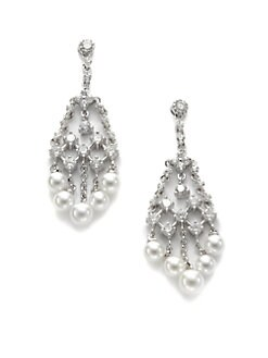 CZ by Kenneth Jay Lane - Freshwater Pearl & Crystal Fringe Earrings