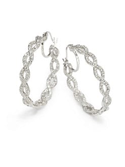 CZ by Kenneth Jay Lane - Rhianna Scalloped Inside-Outside Hoop Earrings