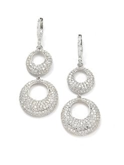 CZ by Kenneth Jay Lane - Pave Crescent Double Drop Earrings