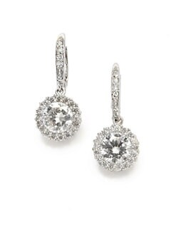 CZ by Kenneth Jay Lane - Brilliant-Cut Halo Drop Earrings/Rhodium-Plated