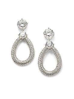CZ by Kenneth Jay Lane - Pave Door Knocker Earrings