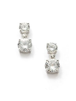 CZ by Kenneth Jay Lane - Round Crystal Tiered Drop Earrings