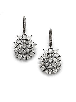 CZ by Kenneth Jay Lane - Scattered Crystal Disc Earrings