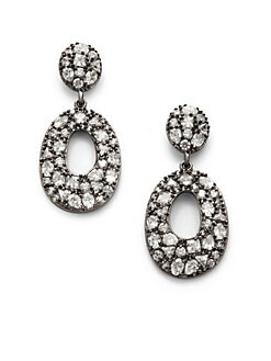 CZ by Kenneth Jay Lane - Cluster Cutout Oval Drop Earrings