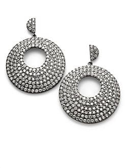 CZ by Kenneth Jay Lane - Pave Cutout Disc Drop Earrings