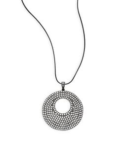 CZ by Kenneth Jay Lane - Pave Cutout Disc Pendant Necklace