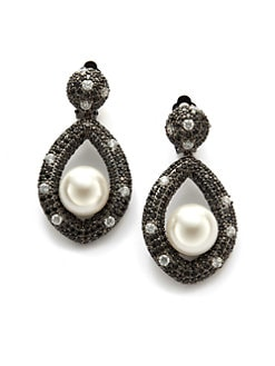 CZ by Kenneth Jay Lane - White Freshwater Pearl & Pave Door Knocker Earrings