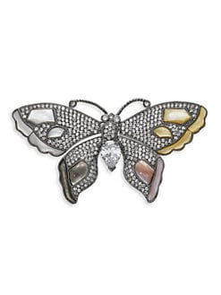 CZ by Kenneth Jay Lane - Mother of Pearl & Pave Butterfly Brooch