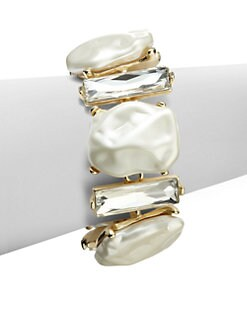 Kenneth Jay Lane - Crystal & Faux Pearl Bracelet