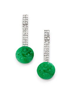 Kenneth Jay Lane - Jade & Crystal Drop Earrings