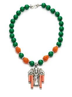Kenneth Jay Lane - Coral, Jade & Crystal Deco Pendant Necklace