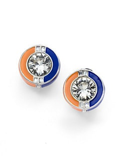 Kenneth Jay Lane - Crystal & Enamel Colorblock Circle Earrings