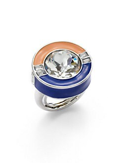 Kenneth Jay Lane - Crystal & Enamel Colorblock Ring