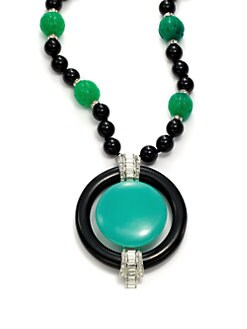 Kenneth Jay Lane - Jade & Crystal Large Pendant Necklace