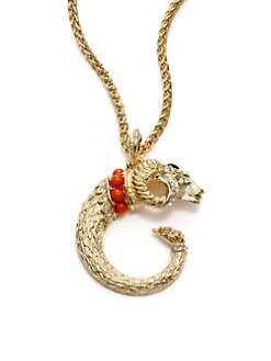 Kenneth Jay Lane - Coral & Crystal Ram Pendant Necklace