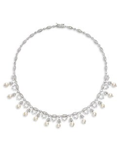 CZ by Kenneth Jay Lane - White Freshwater Pearl & Pave Fringed Collar Necklace