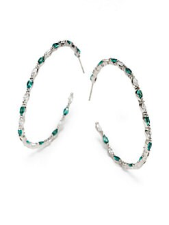 CZ by Kenneth Jay Lane - Multicolor Marquis-Cut Inside-Outside Hoop Earrings