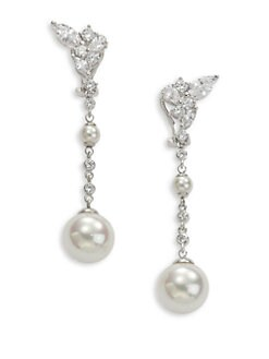 Majorica - 5MM & 12MM White Round Pearl Drop Earrings