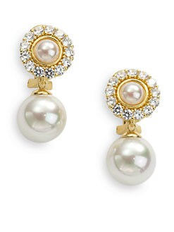 Majorica - Jeweled Medallion 12MM White Pearl 18K Gold Vermeil Earrings
