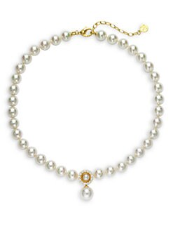 Majorica - 10MM White Round Pearl & Cubic Zirconia 18K Gold Vermeil Strand Necklace