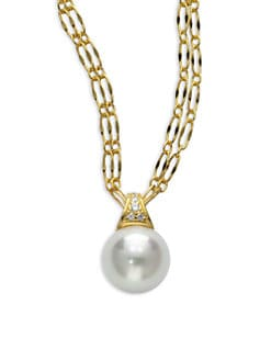 Majorica - 14MM White Round Pearl & Cubic Zirconia 18K Gold Vermeil Pendant Necklace