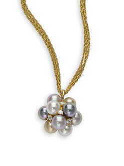 Majorica - Grey, Nuage & Champagne Round Pearl & Cubic Zirconia Brass Cluster Necklace
