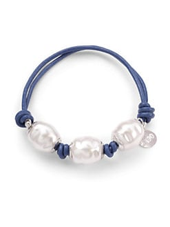 Majorica - 12MM White Baroque Three-Pearl, Leather & Sterling Silver Bracelet