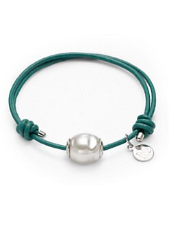 Majorica - 12MM White Baroque Pearl, Leather & Sterling Silver Bracelet